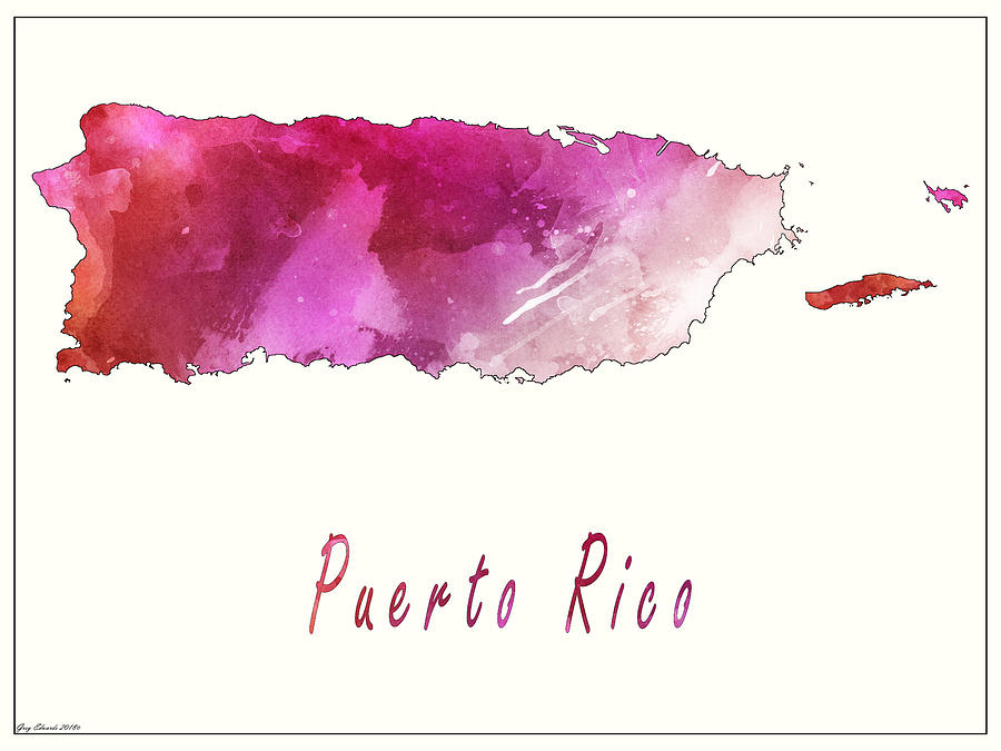 Puerto Rico Watercolor Map Style 3 by Greg Edwards