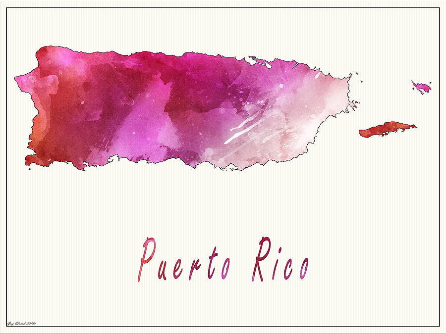 Puerto Rico Watercolor Map Style 4 by Greg Edwards
