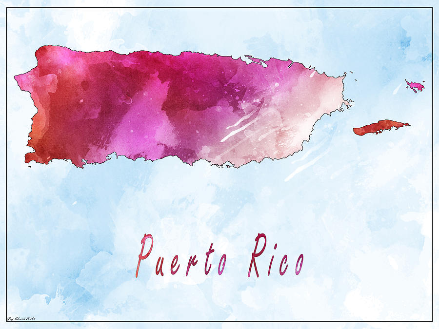 Puerto Rico Watercolor Map Style 5 by Greg Edwards
