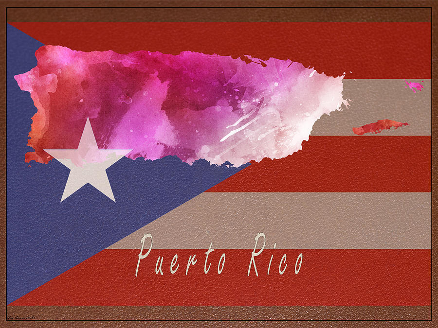 Puerto Rico Watercolor Map Style 6 by Greg Edwards