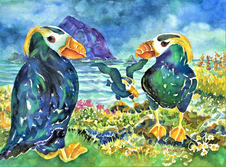 Puffins by Ann Nicholson