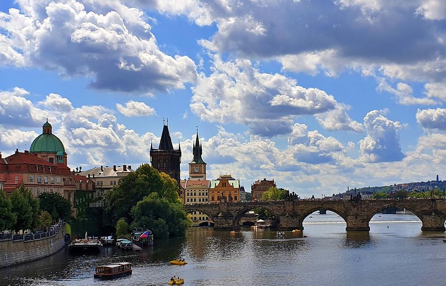 Puffy Clouds Over Prague by Andrea Whitaker