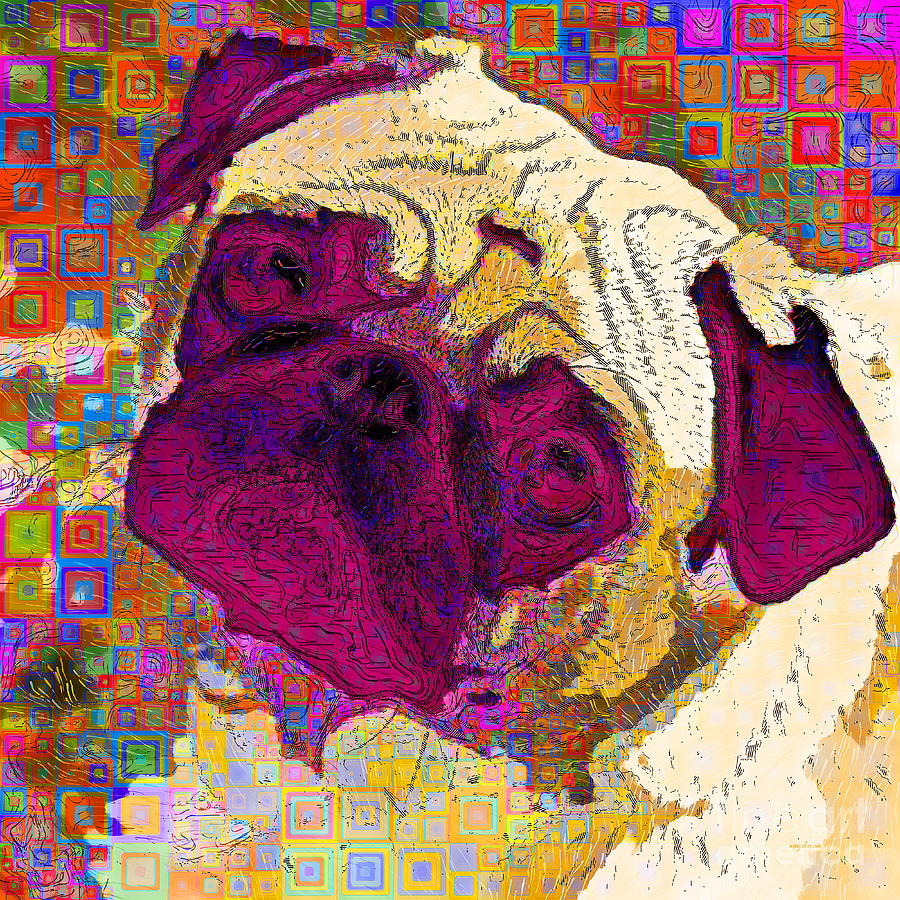 Pug Dog Modern Art 20190205sq by Wingsdomain Art and Photography