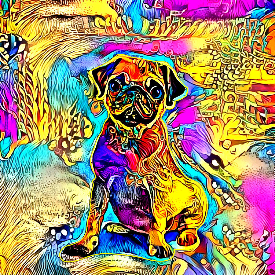 Pug dog with bright colors by Gina Koch