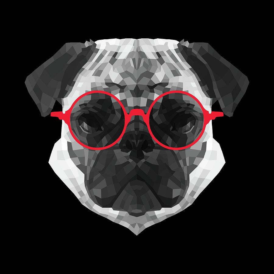 Pug Digital Art - Pug in Red Glasses by Naxart Studio