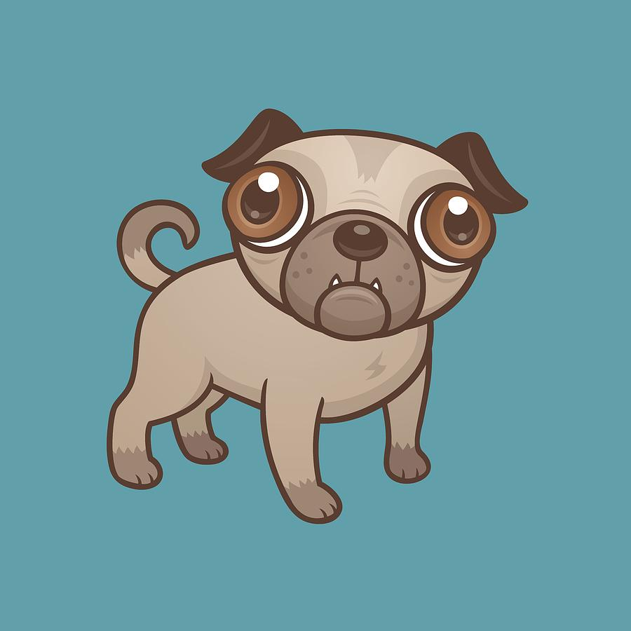 Pug Puppy Cartoon Digital Art
