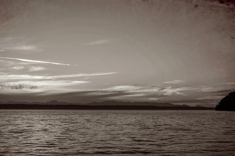 Puget Sound Sunset Black and White by Cathy Anderson