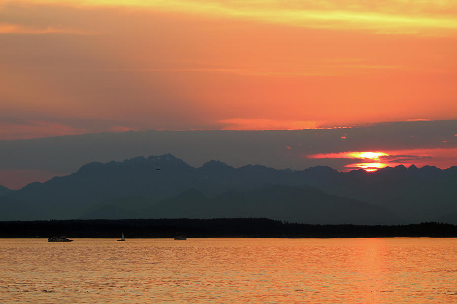 Puget Sound Sunset - Seattle Washington by Rick Veldman