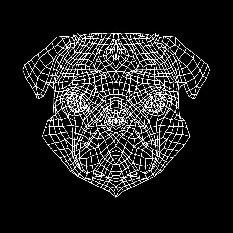 Pug Digital Art - Pugs Face Mesh by Naxart Studio
