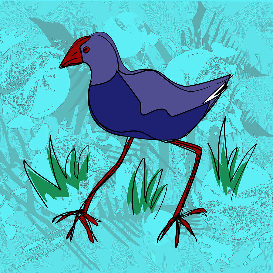 Pukeko in Blue by Jocelyn Friis