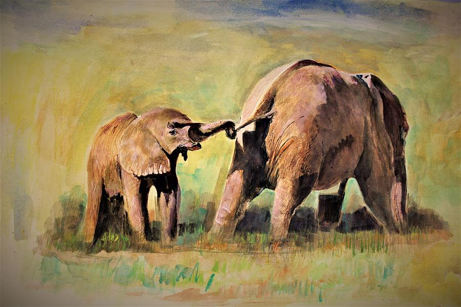 Elephant Painting - Pulling The Tail by Khalid Saeed
