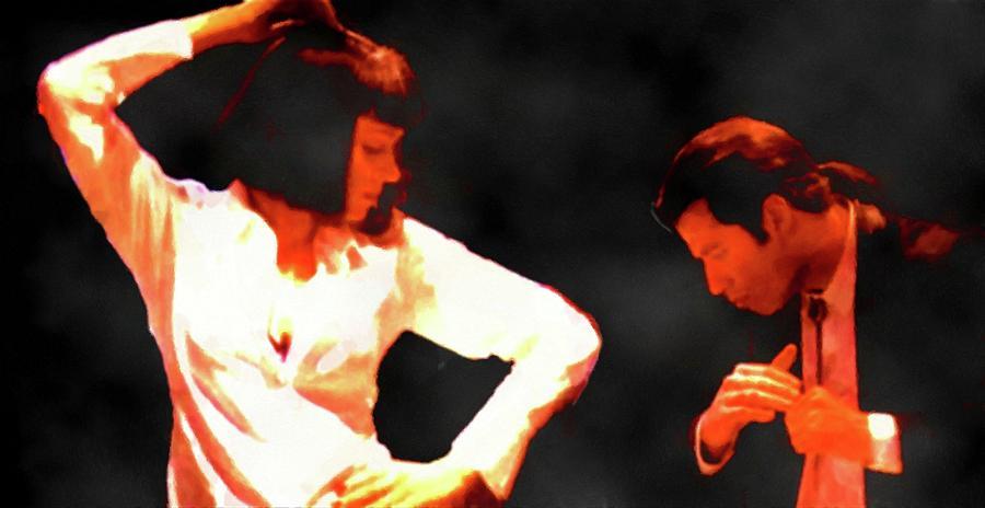 Pulp Fiction Dance Movie Scene Uma Thurman And John Travolta Portrait