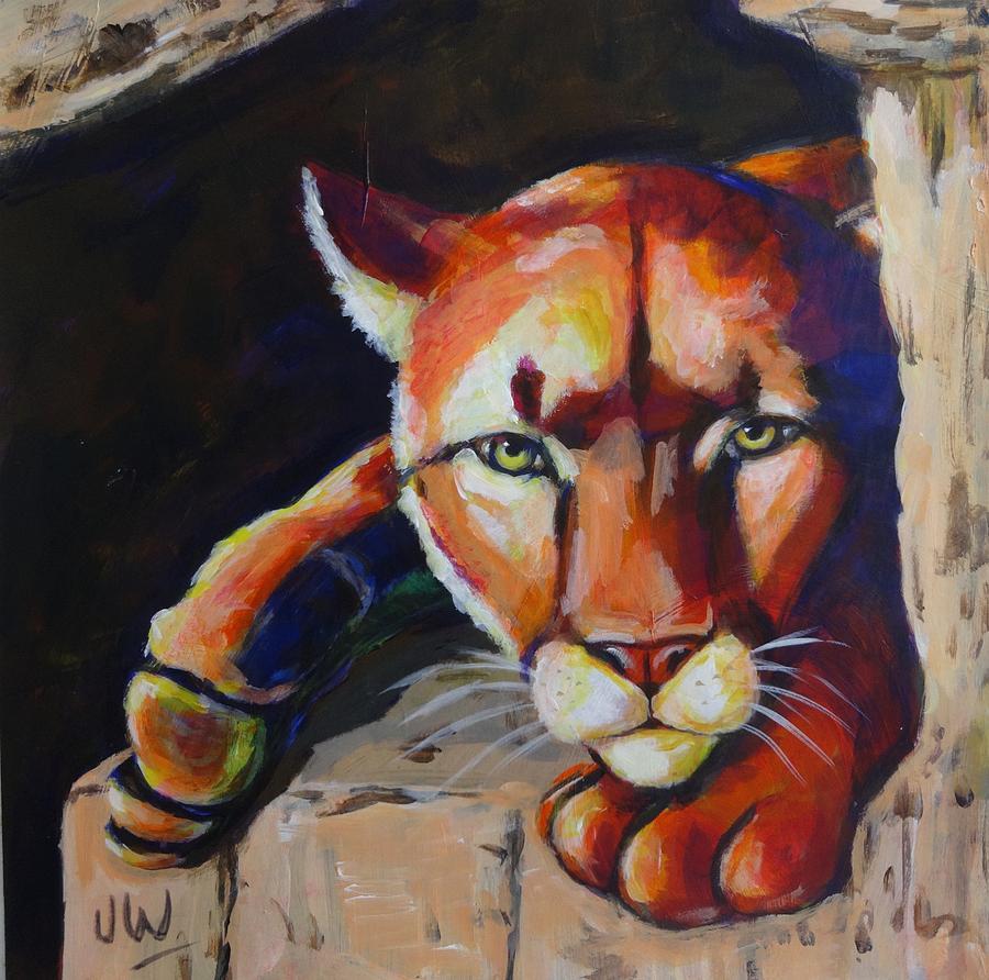 Puma in waiting by June Walker