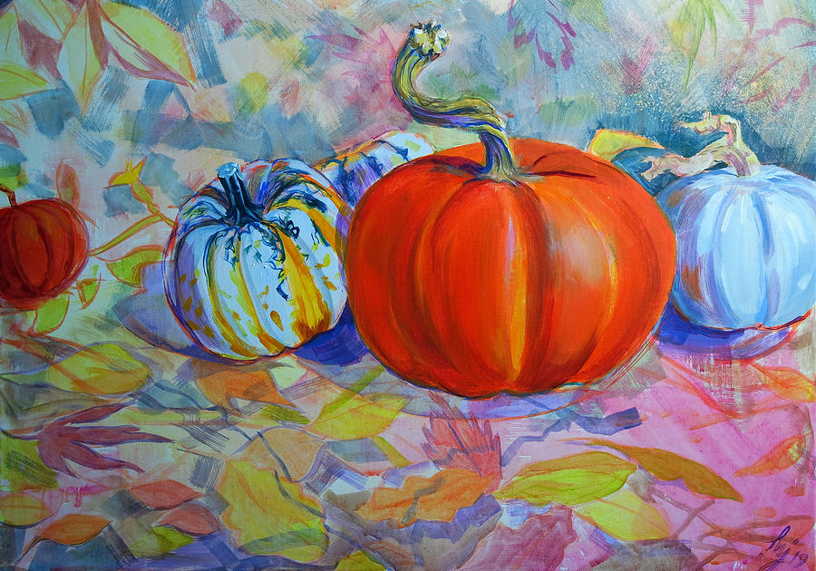 Pumpkin carnival squash and autumn leaves still life painting by Mike Jory