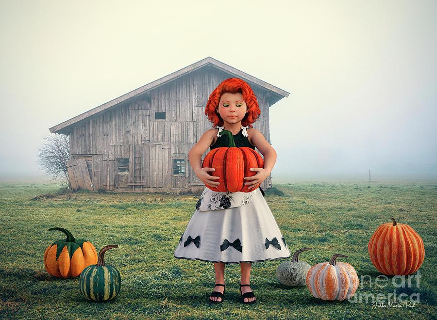 3d Digital Art - Pumpkin Girl by Jutta Maria Pusl