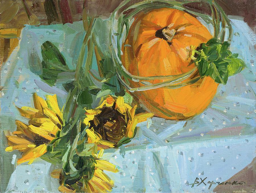 Pumpkin In A Cucumber Wreath Painting