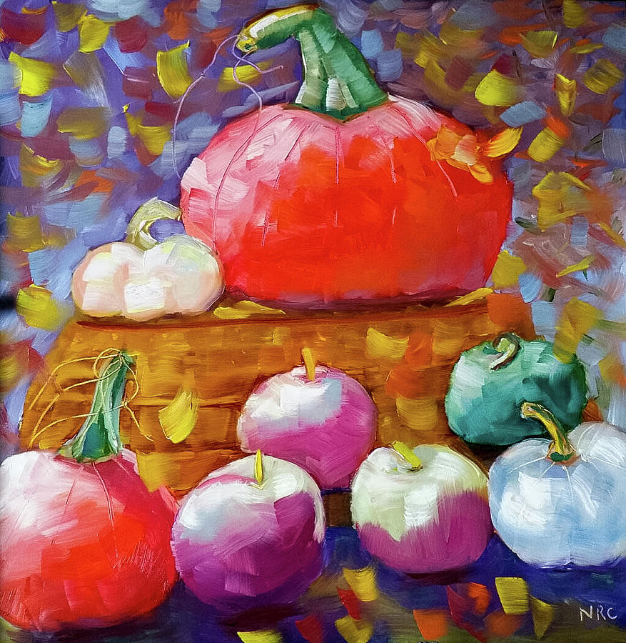 Pumpkins and Apples by Natalie Rotman Cote