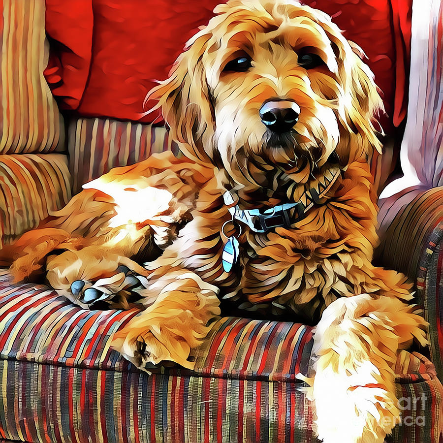 Goldendoodle Digital Art - Puppy Dog Chair Warmer by Christine Segalas