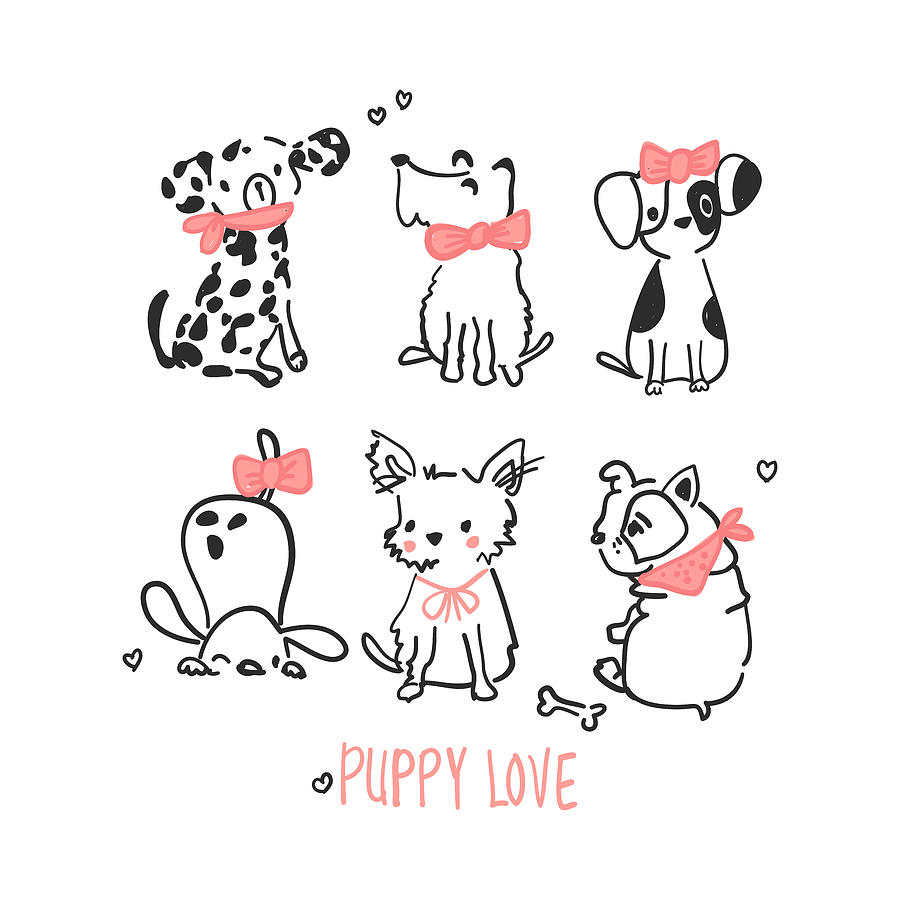 Puppy Love - Baby Room Nursery Art Poster Print by Dadada Shop