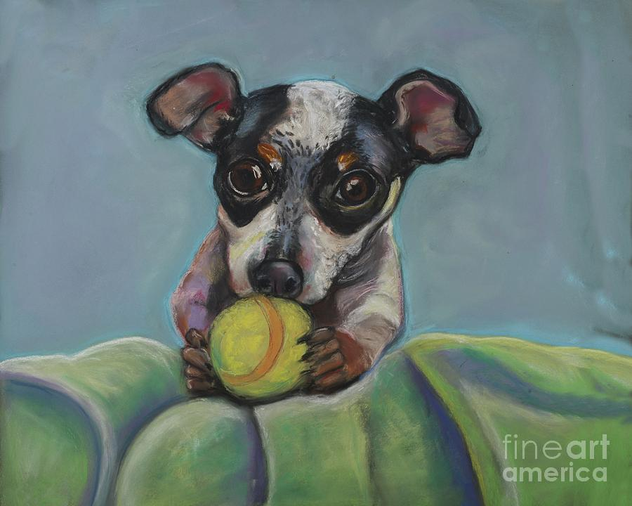 Puppy With Tennis Ball Pastel by Ann Hoff