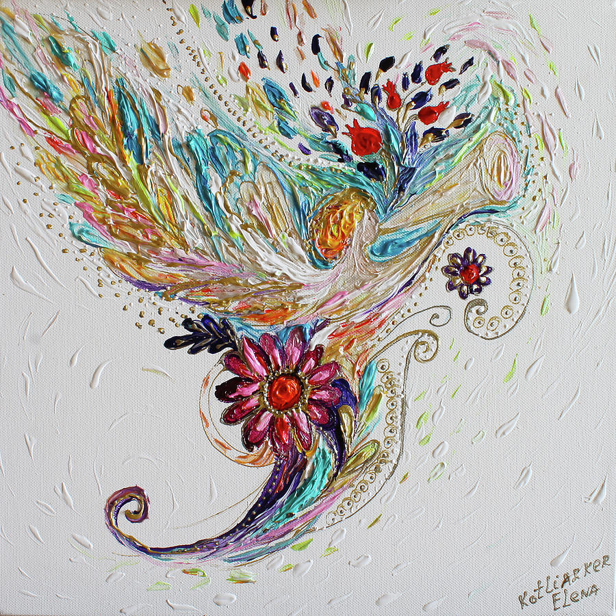 Angels Painting - Pure Abstract #4. Trumpeting Angel by Elena Kotliarker