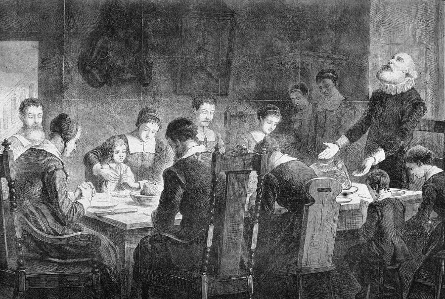 Puritans Pray At Thanksgiving Dinner Photograph by Kean Collection