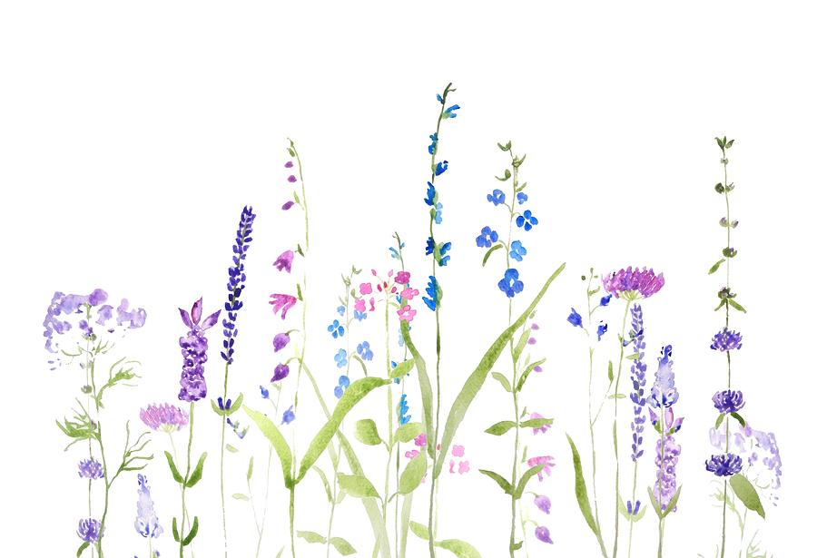 purple and blue wildflower painting by Color Color