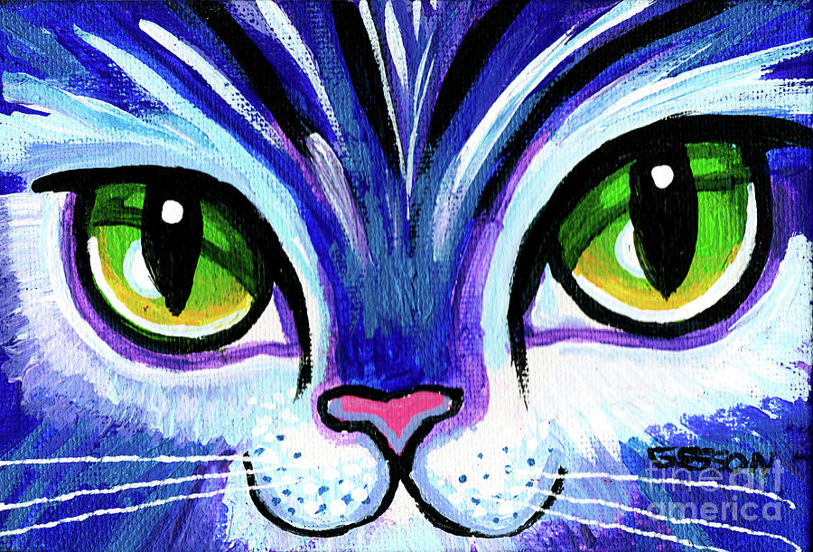 Purple Cat Face With Green Eyes by Genevieve Esson