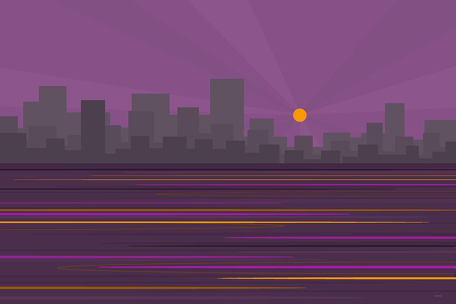 Purple City Skyline by Val Arie