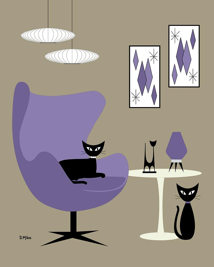 Purple Egg Chair with Cats by Donna Mibus