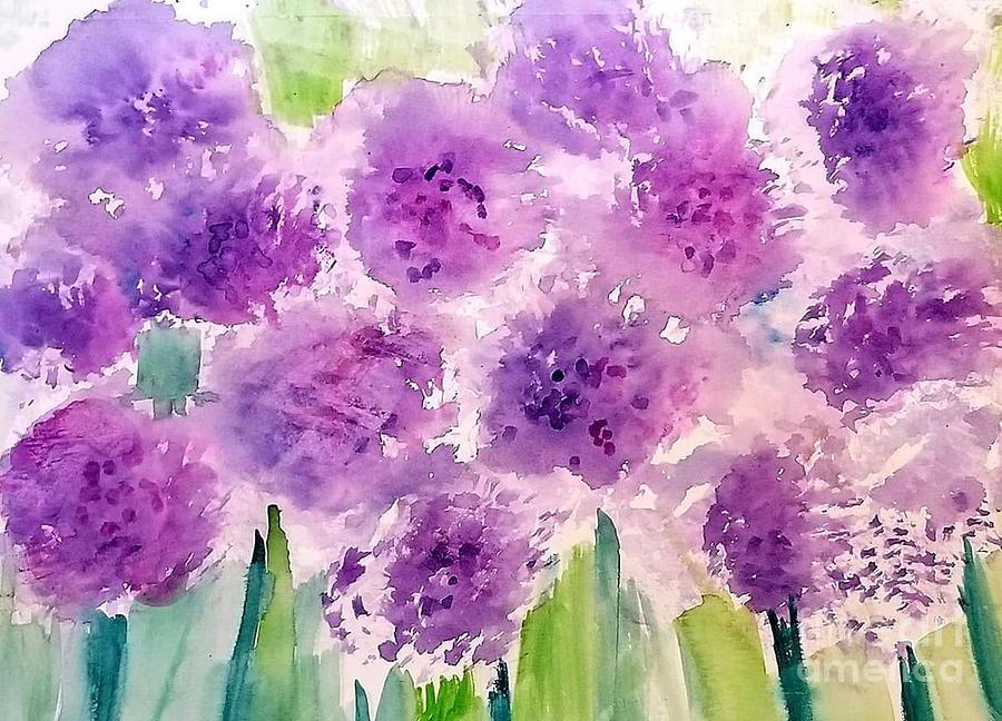 Purple Flowers Painting - Purple Flowers  by Rose Elaine