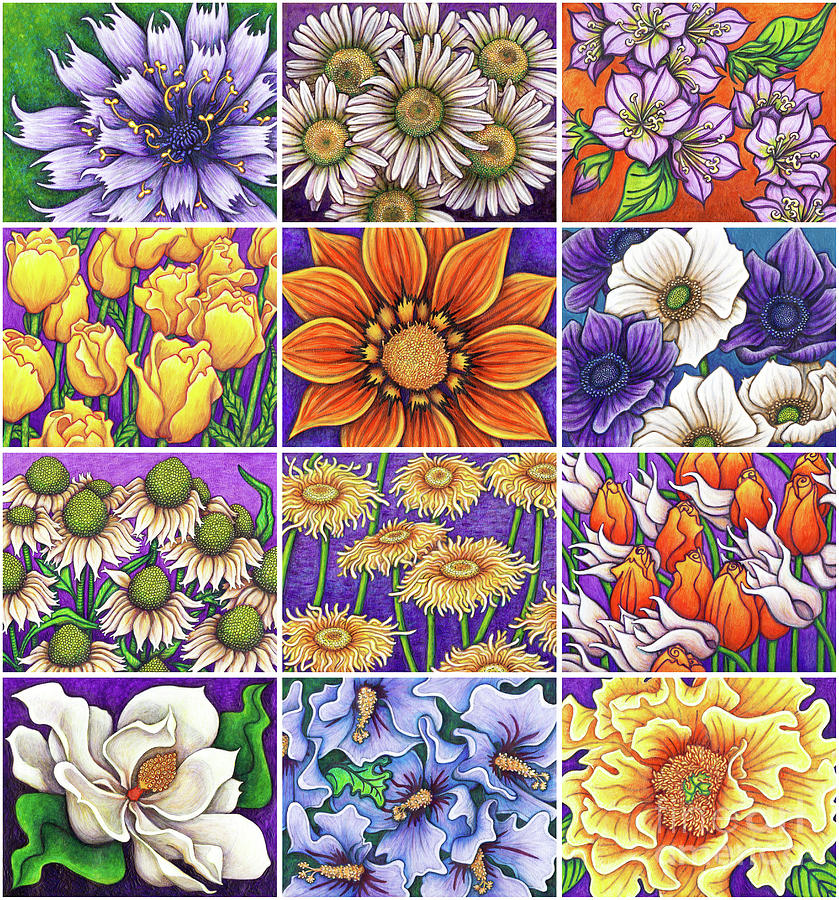Purple Garden Patchwork by Amy E Fraser