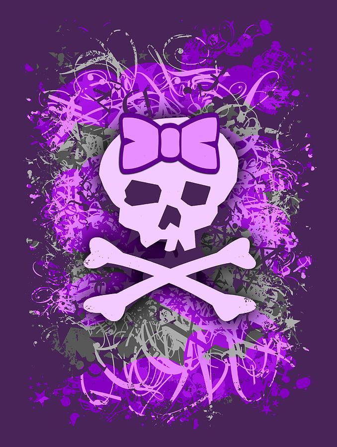 Purple Girly Skull Graphic by Roseanne Jones