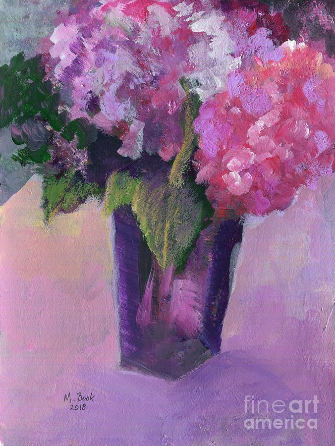 Purple Glass Vase with Hydrangeas by Marlene Book