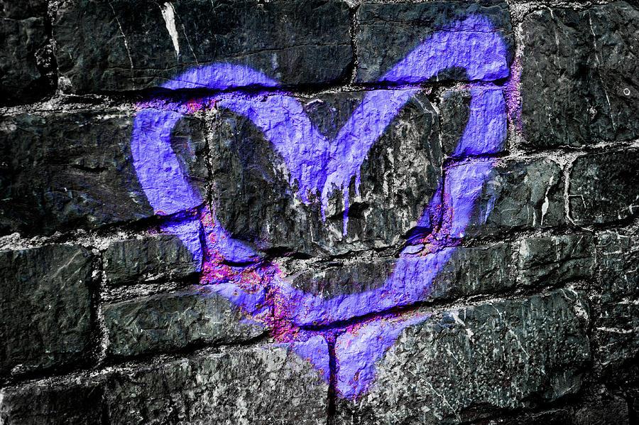 Purple Graffiti Heart by Helen Northcott