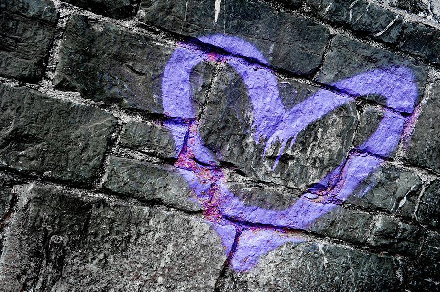 Purple Graffiti Heart ii by Helen Northcott