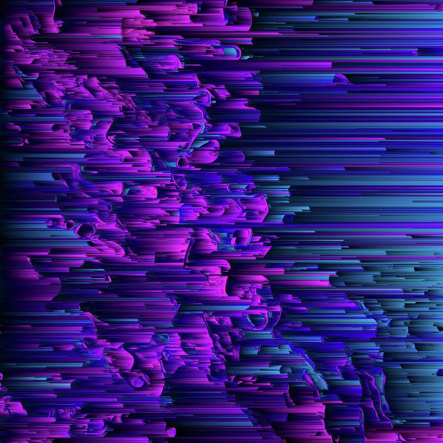 Glitch Digital Art - Purple Haze by Jennifer Walsh