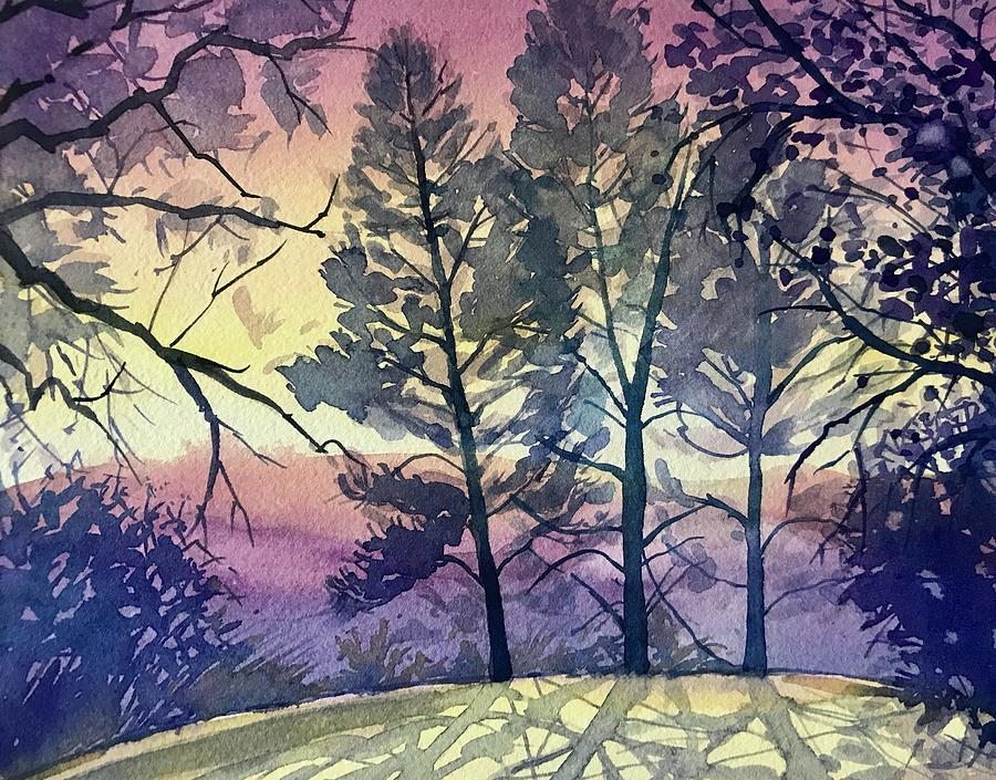 Three Pines On Skyline Painting