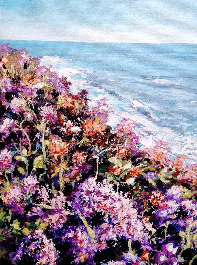 Vivid Colors Painting - Purple Landscape by Ray Khalife