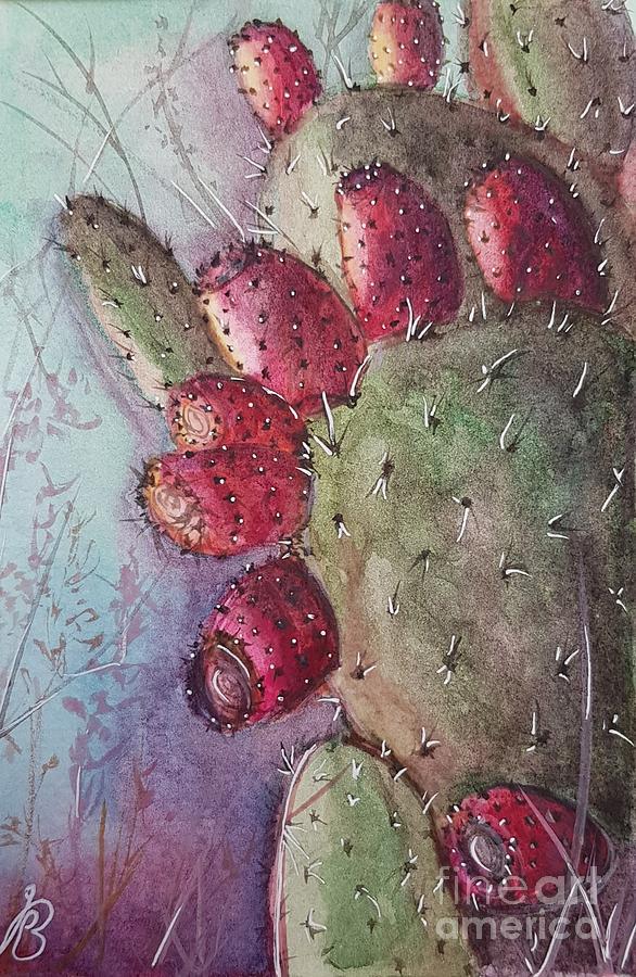 Purple Painting - Purple Pricky Pear Cactus by Paola Baroni