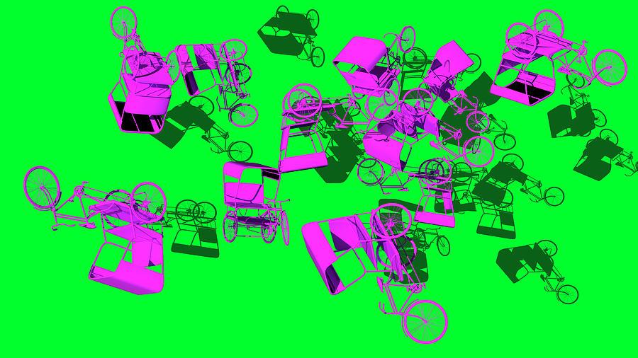 Purple Rickshaws Flying by Heike Remy