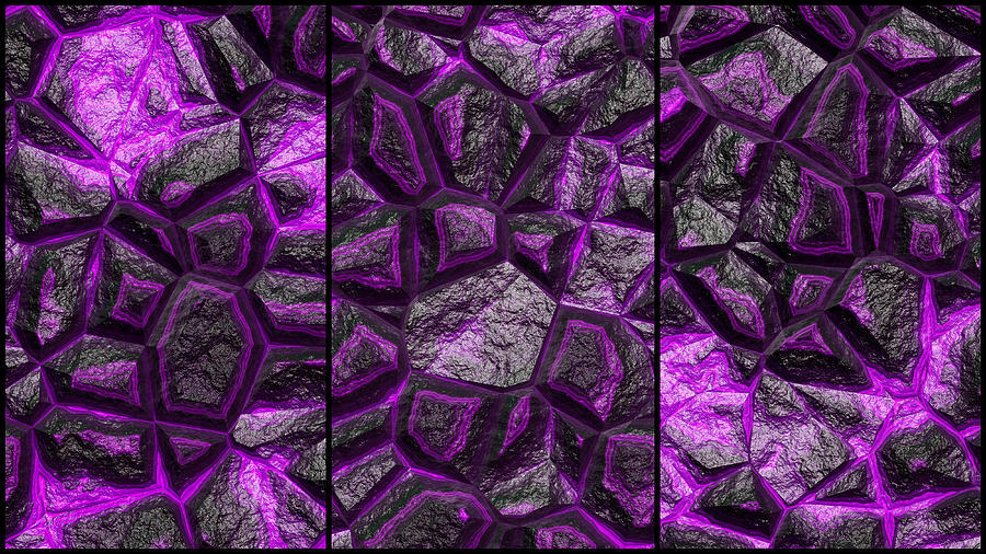 Purple Rock Wall Abstract Triptych by Don Northup