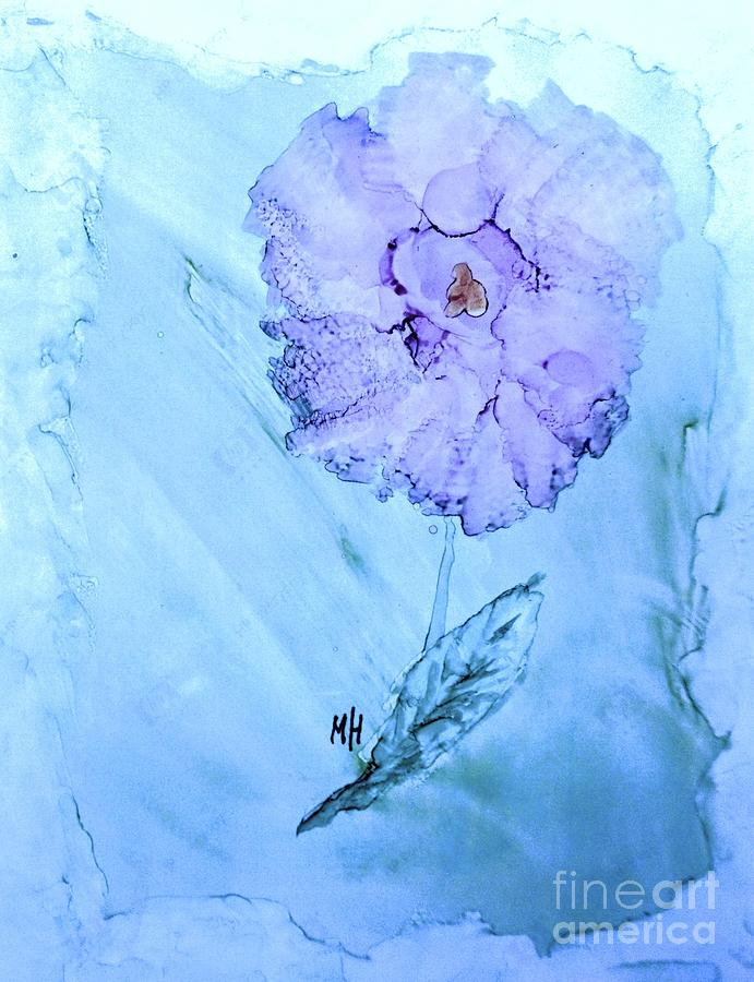 Ink Paint Painting - Purple Rose On Blue by Marsha Heiken