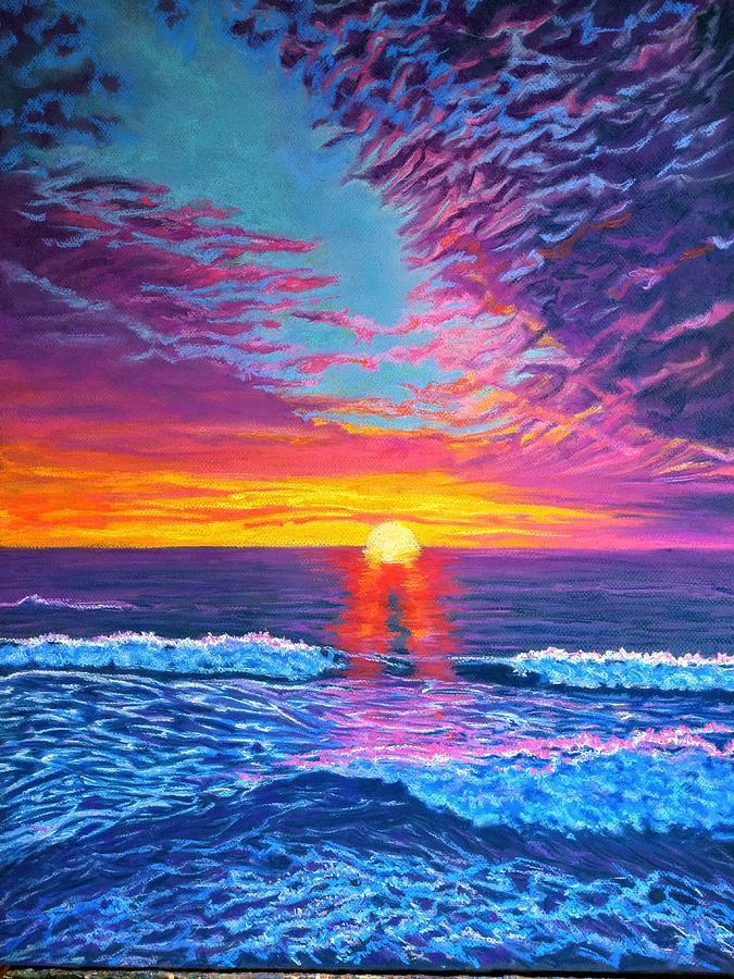 Pastel Seascape Painting - Purple Seas by Trish Bonnette