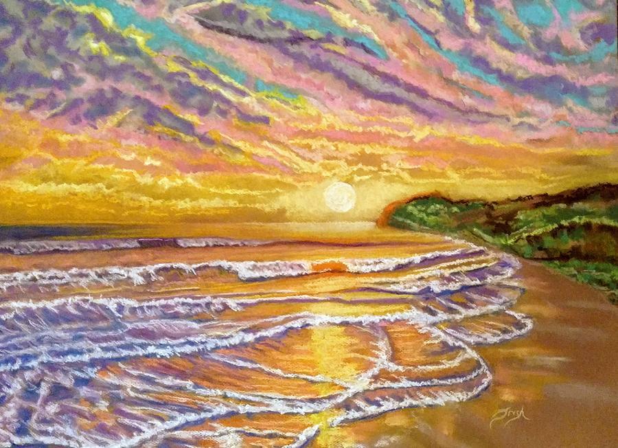 Sunset Painting - Purple Sunset Beach by Patricia Bonnette
