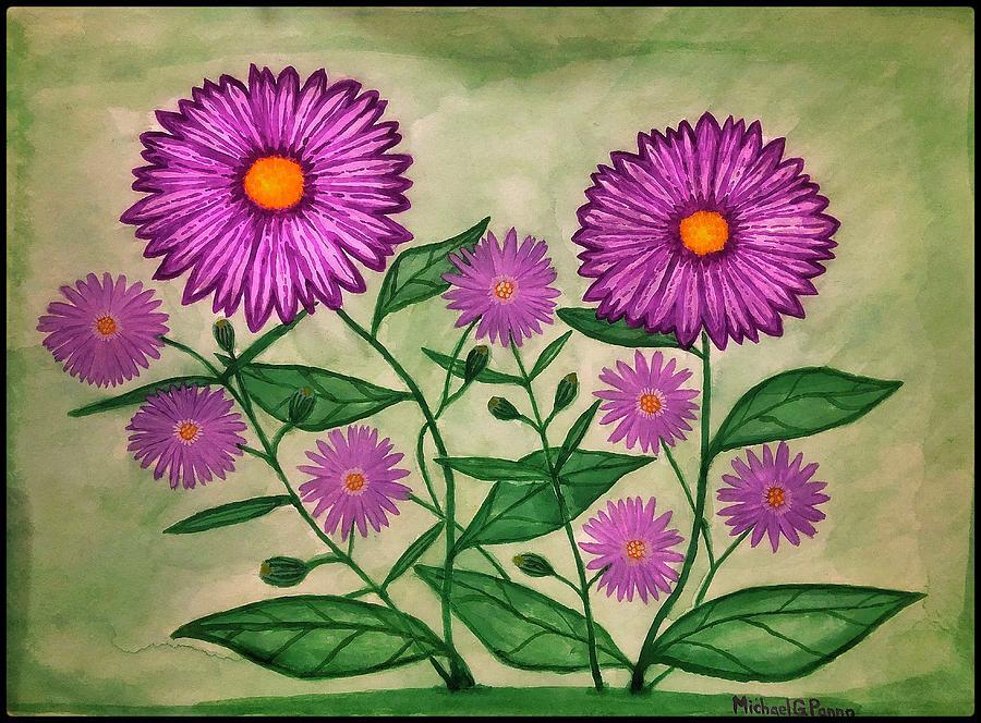 Purple Wildflowers W/ Border Painting