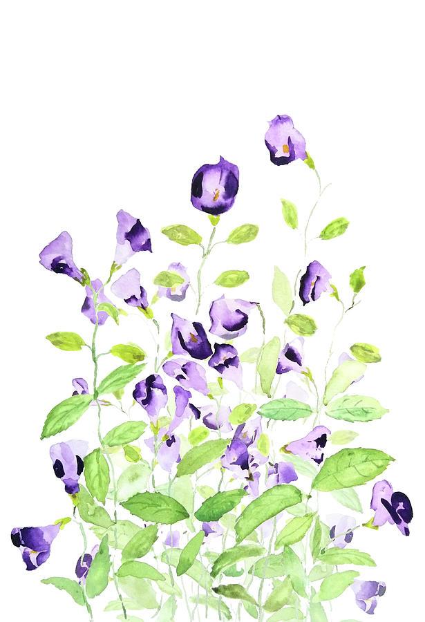 purple wishbone flower watercolor by Color Color
