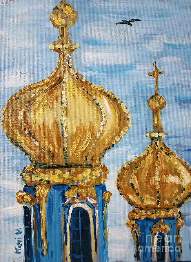 Pushkin Palace Towers Painting by Maria Langgle