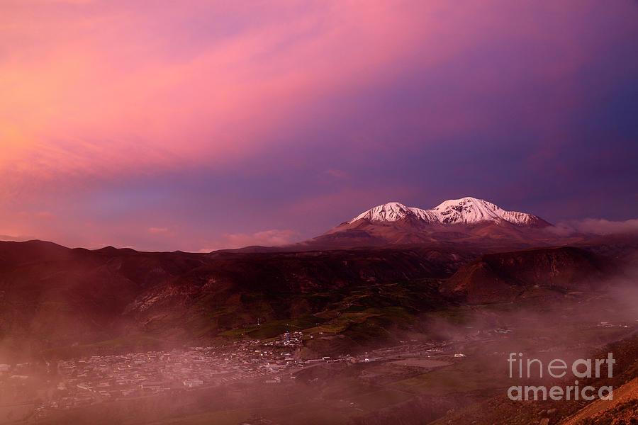 Putre and Nevados de Putre at Sunset Chile by James Brunker