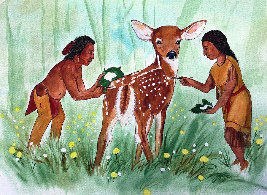 Deer Painting - Putting On The Spots by John Guthrie